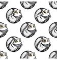 Funny cartoon baseball ball pattern vector image