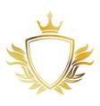golden shield crown heraldic luxury frame vector image