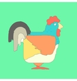 Hand drawn flat square icon rooster isolated on vector image