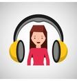 headphones music character girl pink shirt vector image