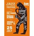 Jazz Music Festival Lettering Silhouette Poster vector image