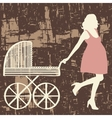 Pregnant woman with carriage vector image