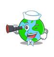 sailor with binocular world globe character vector image