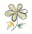 Flower hand drawn on the white background vector image