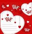 red background with hearts Valentines Day vector image