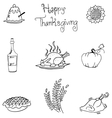 Thanksgiving in doodle food art vector image
