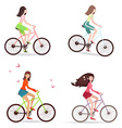 Beautiful girls are riding on bicycles vector image
