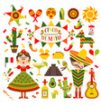 cinco de mayo celebration in mexico set design vector image