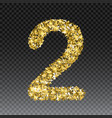 gold glittering number two shining golden vector image
