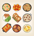 homemade dinner dishes vector image