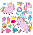 magic cute unicorns baby horses character vector image