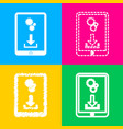 phone icon with settings symbol four styles of vector image