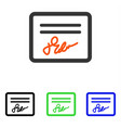 signed page flat icon vector image