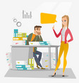 stressed office worker and his employer vector image
