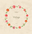 vintage wreath with spring flowers for your design vector image