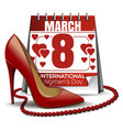 8 march card calendar with the date of march 8 vector image
