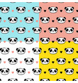 cute panda bear seamless patterns vector image