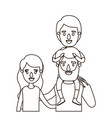 sketch contour caricature half body family with vector image
