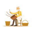 senior man weaving baskets craft hobby or vector image