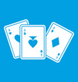 playing cards icon white vector image