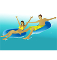 People enjoying a swimming pool vector image