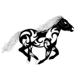 tribal silhouette of a running horse vector image