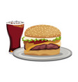 fast food burger cheese sauce and soda with ice vector image