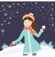 Girl with snowball vector image