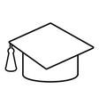 graduation cap icon outline line style vector image