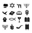 Judaism icons set black vector image