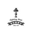 Table Lamp Label Sunny Ribbon Lighting Shop Badge vector image