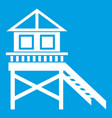 wooden stilt house icon white vector image