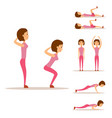 young woman is exercising at home fitness vector image