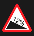 steep descent sign flat icon vector image