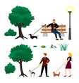 colorful city park elements collection vector image