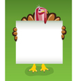 turkey holding blank sheet of paper vector image