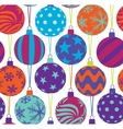 christmas tree balls seamless pattern vector image