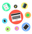 office objects in colored circles vector image