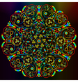 Ornamental abstract round lace rainbow colored pat vector image