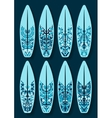 surfboards set with blue kaleidoscope pattern vector image