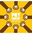 Pet paw shop vet clinic food vector image