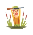 Funny Childish Hunter Character With Moustache vector image
