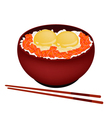 Bowl of Boiled Rice with Raw Egg and Salmon vector image vector image