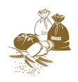 bread wheat and sacks of flour on the white vector image vector image
