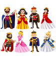 Different characters of king and queen vector image vector image