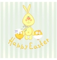 background with bunny and chicken vector image
