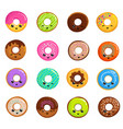 cute sweets donuts in japanese kawaii style vector image