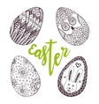 Easter eggs Unique doodle set with lettering vector image