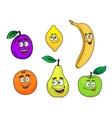 Happy smiling cartoon fruits set vector image