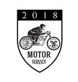 motorcycle service 2018 man riding motorcycle back vector image
